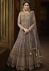 Grey Net Heavy Embroidered Floor Length Anarkali Suit - 15011