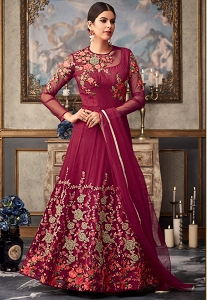 Magenta Net Heavy Embroidered Long Anarkali Suit - 15035D