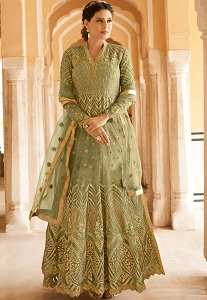 Green Net Embroidered Long Anarkali Suit - 15102A