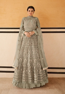 Grey Net Resham Embroidered Long Anarkali Suit - 15203
