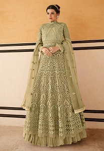 Pastel Green Net Resham Embroidered Long Anarkali Suit - 15205