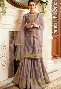 Grey Satin & Net Embroidered Sharara Style Pakistani Suit - 15301