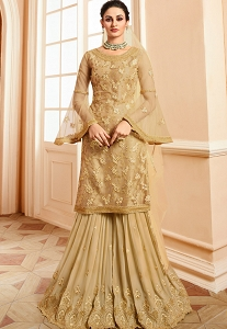 Golden Satin & Net Embroidered Sharara Style Pakistani Suit - 15302