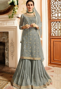 Grey Satin & Net Embroidered Sharara Style Heavy Pakistani Suit - 15306