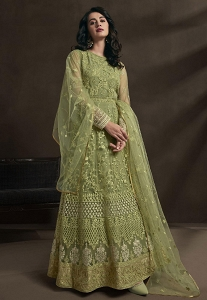 Green Net Embroidered Anarkali Suit - 1531