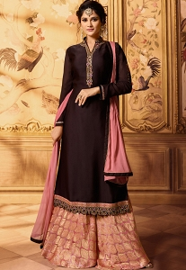 Dhrasti Dhami Wine Embroidered Satin-Georgette Sharara Style Pakistani Suit-15604