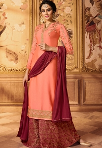 Dhrasti Dhami Peach Embroidered Satin-Georgette Sharara Style Pakistani Suit-15606