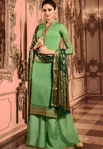 Teal Green Satin Georgette Embroidered Pakistani Palazzo Suit -16001