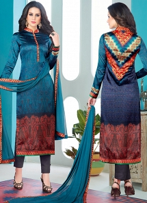 Blue Satin Digital Printed Pant Style Suit 1601