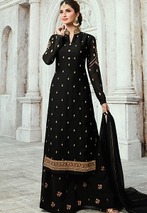 Black Satin Georgette Straight Palazzo Style Suit - 16103