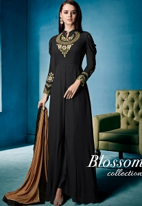 Black Georgette Long Trouser Style Suit - 162