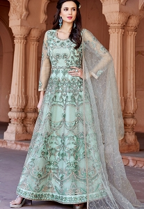 Green Shade Net Embroidered Long Anarkali Suit - 1627