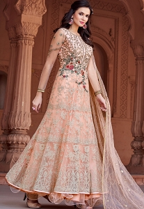 Peach Net Embroidered Long Anarkali Suit - 1629