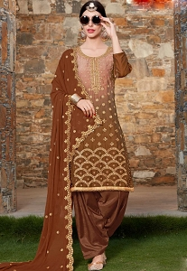 Brown Silk Punjabi Suit - 20005