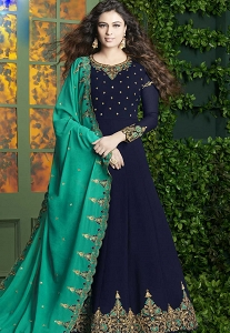 Navy Blue Georgette Floor Length Designer Anarkali Suit - 20005