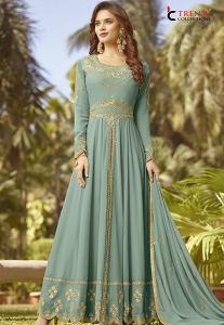 Blue Shade Soft Georgette Long Embroidered Trouser Anarkali Suit - 20024