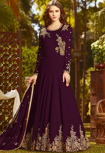 Purple Georgette Embroidered Floor Length Anarkali Suit - 20027