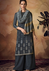 Dark Grey Viscose Embroidered Palazzo Suit - 2102