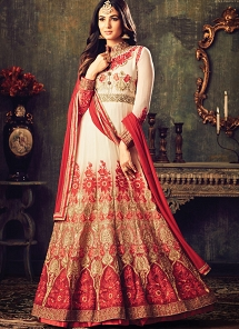 Sonal Chauhan Red & Off White Georgette Floor Length Anarkali Suit
