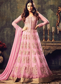 Sonal Chauhan Baby Pink Net Floor Length Lehenga & Trouser Style Suit