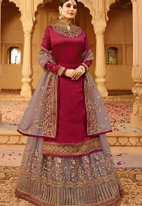 Maroon & Grey Satin Georgette Embroidered Lehenga Style Suit - 22523