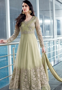 Green Shade Net Embroidered Designer Anarkali Suit - 2506