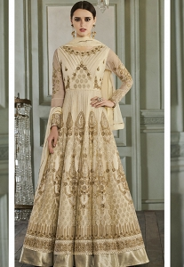 Cream Net Embroidered Anarkali Suit - 27014