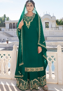 Green Georgette Straight Embroidered Palazzo Suit -292