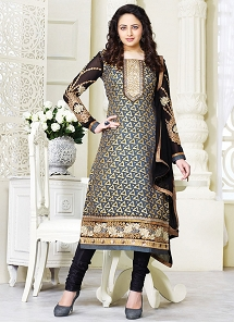 Aesthetic Multi Color Brasso Georgette Straight Churidar Suit