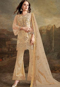 Beige Net Silk Embroidered Pakistani Trouser Suit - 30027
