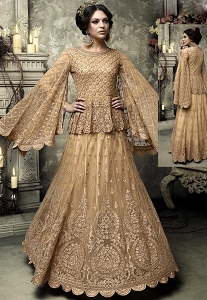 Beige Net Koti Style Long Anarkali Suit - 301
