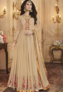 Beige Georgette Long Pleated Anarkali Designer Suit - 33002
