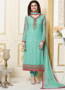 Surpassing green georgette party wear salwar kameez.