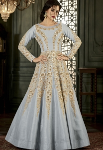 Grey Silk Long Embroidered Anarkali Suit - 34001