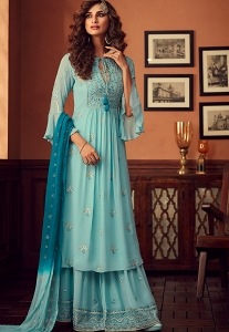Blue Georgette Embroidered Palazzo Suit - 34001