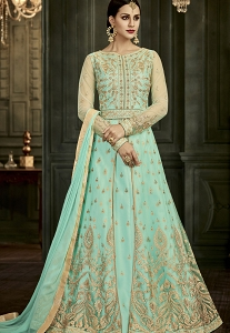 Aqua Soft Silk Floor Length Anarkali Suit - 34004