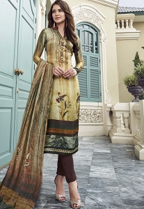 Multi Color Digital Satin Printed Trouser Style Suit - 3701