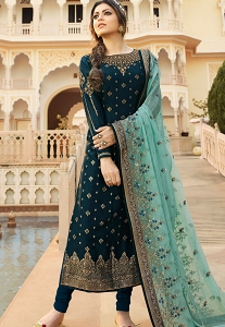 Dark Blue Jacquard Embroidered Straight Churidar Suit - 3702