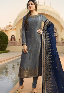 Grey Jacquard Embroidered Straight Churidar Suit - 3704
