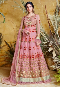 Pink Shade Net Embroidered Floor Length Anarkali Suit - 38031