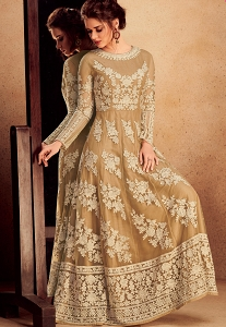Beige Silk & Net Resham Embroidered Long Anarkali Suit - 39004