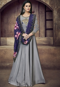 Grey Tafetta Satin Floor Length Anarkali Suit - 39005
