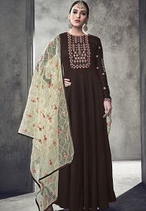 Brown Maslin Cotton Long Anarkali Gown Style Suit - 39011
