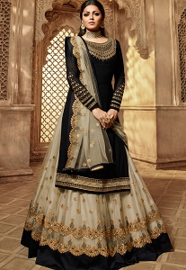 Drashti Dhami Black & Grey Georgette Embroidered Lehenga Style Suit - 3907