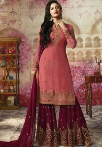 Pink Georgette Sharara Style Pakistani Suit - 4005