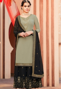Pastel Green Georgette Embroidered Palazzo Style Pakistani Suit - 4007