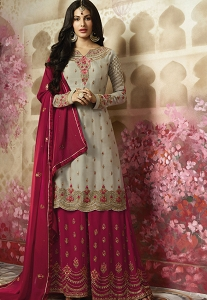 Grey Georgette Sharara Style Pakistani Suit - 4010