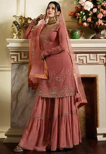 Pink Satin Georgette Embroidered Sharara Style Pakistani Suit - 4053