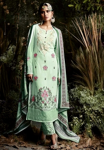 Green Shade Georgette Trouser Style Suit - 4054