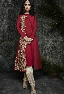Maroon Maslin Silk Embroidered Trouser Style Suit - 4071